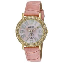 August Steiner Women's MOP Crystal Quartz Strap Watch