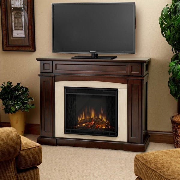 Rutherford Real Flame Dark Mahogany Electric Fireplace