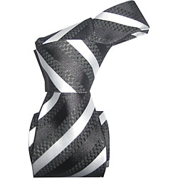 Dmitry Men's Italian Black-Striped All-Occasion Silk Tie