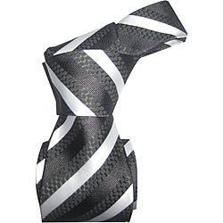 Dmitry Men's Italian Black-Striped All-Occasion Silk Tie