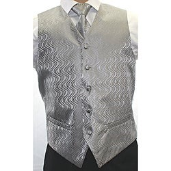 Ferrecci Men's Two-tone Grey 4-piece Vest Set