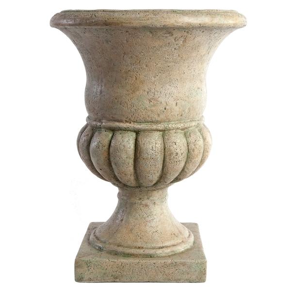 SomerTile Mediterranean Stoneware Pozallo Antique White with Verde 17-inch Planter