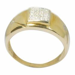 De Buman 10k Yellow Gold Men's 1/6ct TDW Diamond Ring (K-L, I1)