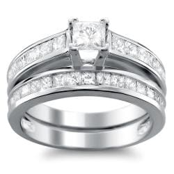 14k White Gold 1ct TDW Princess-cut Diamond Bridal Ring Set (H-I, I1)