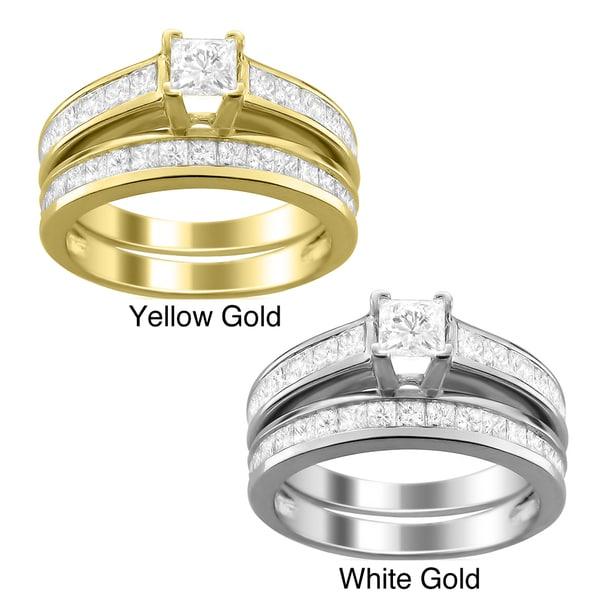 Montebello 14k Gold 2ct TDW Princess-cut Diamond Bridal Ring Set (H-I, I1)