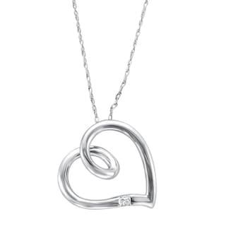 10k White Gold Princess-cut Diamond Accent Heart Necklace