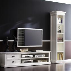 White Distressed Mahogany 5-shelf Bookcase