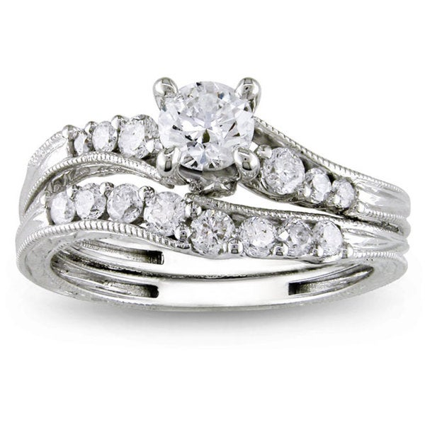 Miadora Signature Collection 14k White Gold 1ct TDW Diamond Bridal Ring Set (G-H, I2-I3)
