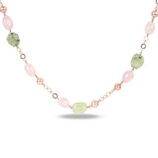 Miadora Sterling Silver FW Pearl and Multi-gemstone Necklace (9-10 mm)