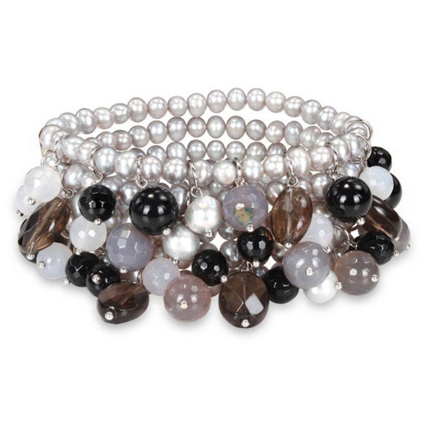 M by Miadora Multi-colored Gemstones and Pearl Bracelet (5-8 mm)