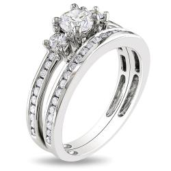 Miadora 14k White Gold 1ct TDW Diamond Bridal Ring Set (G-H, I1-I2)