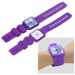 Purple Silicone Watchband Skin Case for Apple iPod Nano 6th Generation