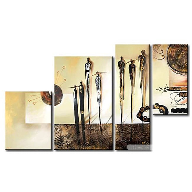 'People and Town' Hand-painted 4-piece Canvas Art Set