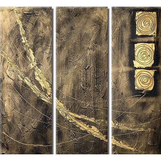 'Paths' Hand-painted 3-piece Canvas Art Set