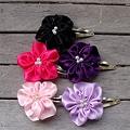 CarolineAlexander Set of 2 Posy Flower Ribbon Barrettes