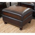 Abbyson Living Palermo Hand Rubbed Leather Ottoman