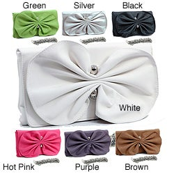 Dasein Faux-leather Fully Lined Clutch Handbag with Ruffled Bow