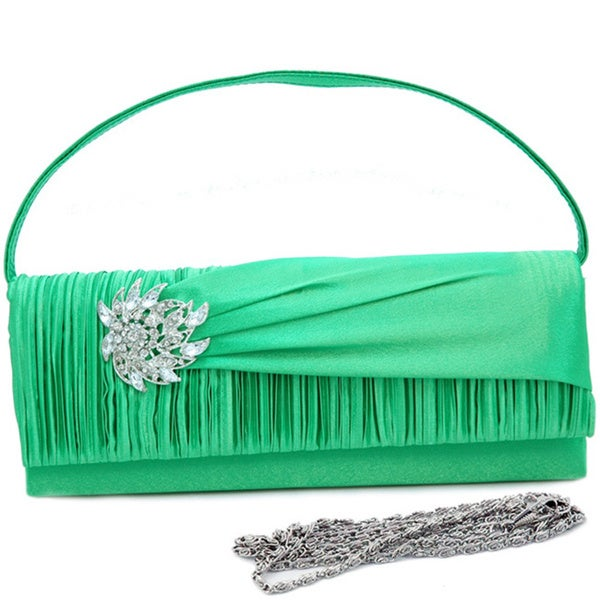 Dasein Satin Rhinestone Detail Pleated Clutch Handbag