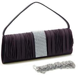 Dasein Satin Rhinestone Pleated Clutch Handbag with Brooch-detail
