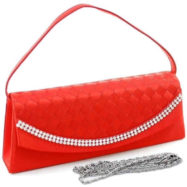 Dasein Satin Rhinestone Detail Clutch Handbag