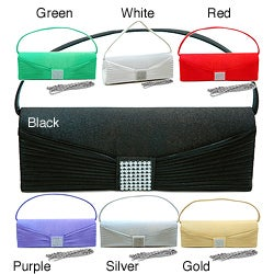 Dasein High-quality Satin Woven Rhinestone Flat-handle Clutch Handbag