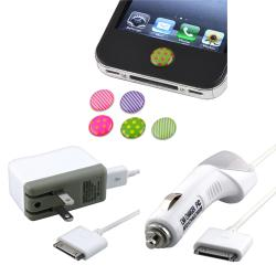 Home Button Sticker/ Car and Travel Charger for Apple iPod/ iPhone