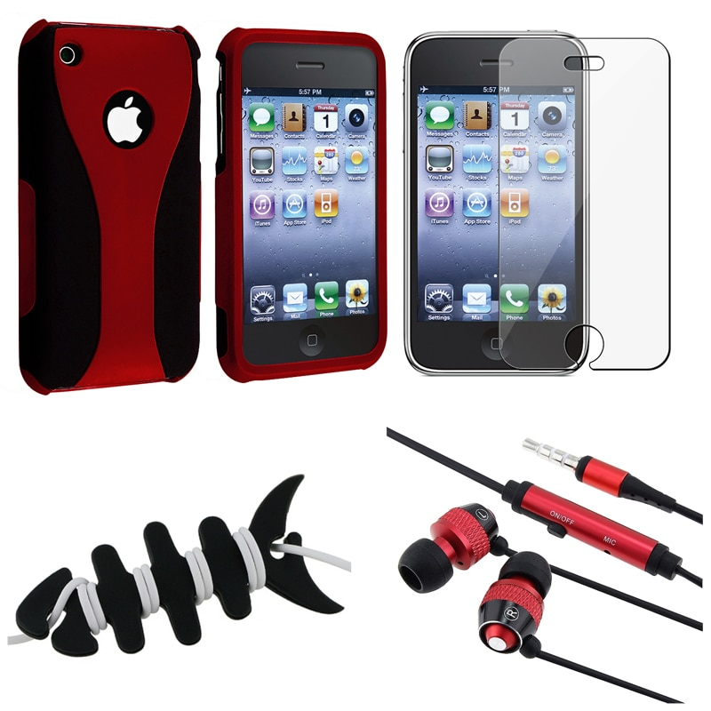 BasAcc Red Case/ Screen Protector/ Headset/ Wrap for Apple iPhone 3GS
