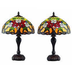 Tiffany Style RoseTree Lamp Set