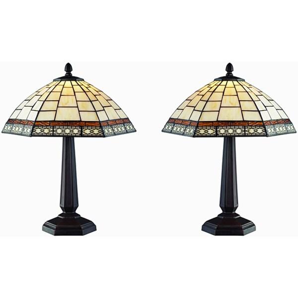 Tiffany Style Antique Tabe Lamp Set