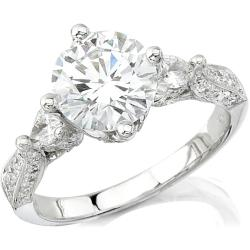 Victoria Kay 14k Gold 5/8ct TDW Designer Diamond and CZ Engagement Ring (H, SI1)
