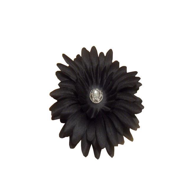 Black Flower Rhinestone Center Hair Clip