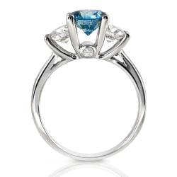 14k White Gold 2 1/8ct TDW Sea Blue and White Diamond Ring (F-G, I1-I2)