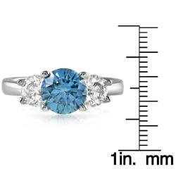 14k White Gold 2 1/8ct TDW Sea Blue and White Diamond Ring (F-G, I1-I2)