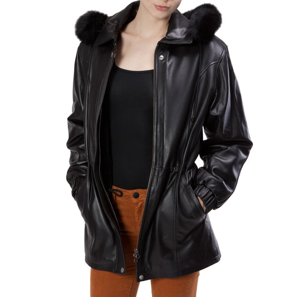 United Face Women's Faux Fur Trimed Black Leather Coat