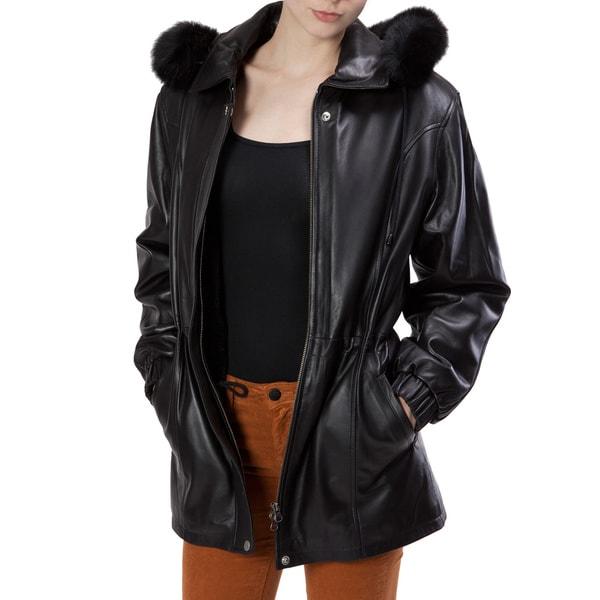 United Face Women's Faux Fur Trimed Black Leather Coat