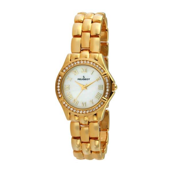 Peugeot Women's Crystal Bezel Goldtone Bracelet Watch