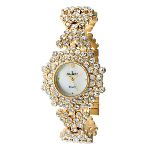Peugeot Women's '7029G' Goldtone Crystal Watch