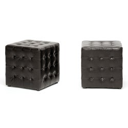 Siskal Dark Brown Modern Cube Ottoman (Set of 2)