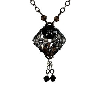 Sterling Silver Crystal Diamond-Shaped Necklace (USA)