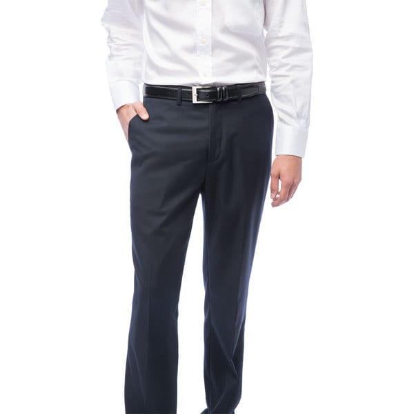 Men's Navy Blue Flat Front Pants
