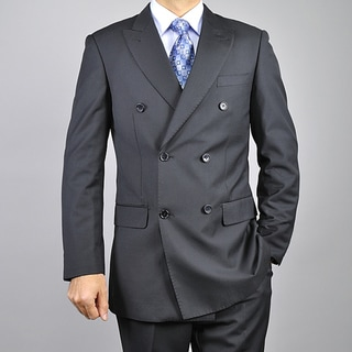 Men's Black Double-breasted 6-button Suit