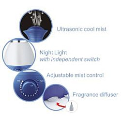 SPT Ultrasonic Blue Humidifier with Fragrance Diffuser
