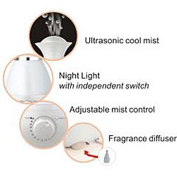 SPT Ultrasonic Pearl White Humidifier with Fragrance Diffuser