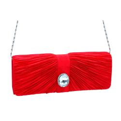 Dasein Satin Rhinestone Pleated Front Clutch