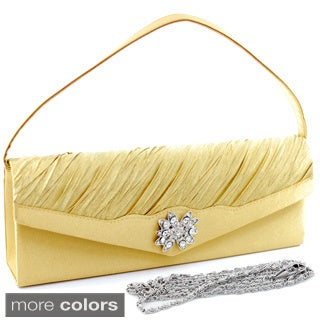 Dasein Pleated Rhinestone Flower Brooch Clutch Presented in Satin