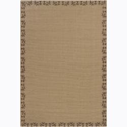 Handwoven Floral Bordered Mandara Tan Rug (5' x 7'6)