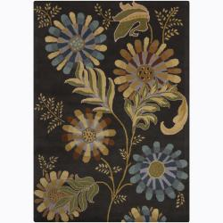 Mandara Hand-tufted Floral Black Wool Rug (9' x 13')