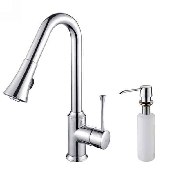 Kraus Single Lever Pull Out Chrome Kitchen Faucet and Soap Dispenser