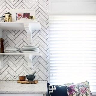 SomerTile 1.75x7.75-inch Victorian Soho Subway Glossy White Porcelain Floor and Wall Tile (90 tiles/9 sqft.)