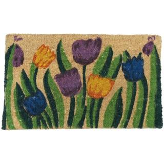 Rubber-Cal 'Tulip Garden' Decorative Coir Mat (2'6 x 1'6)